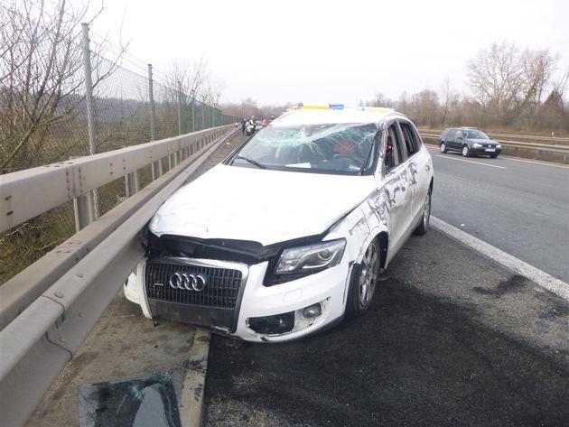 POL-VDMZ: Mainz, A 60, PKW überschlägt sich Ingelheim, A 60, Vollsperrung nach Verkehrsunfall