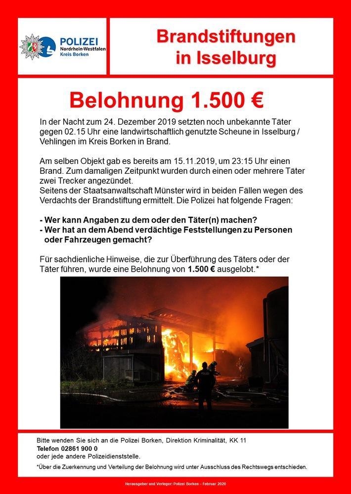Borken: Isselburg – Nach Scheunenbrand nun Belohnung ausgelobt