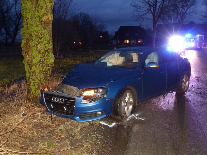 """POL-CUX: Junger Fahrer bei """"Baumunfall"""" leicht verletzt"""