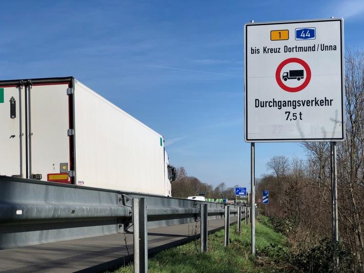 POL-DO: Fahrverbot auf der Bundesstraße 1 in Dortmund: Polizei kündigt Kontrollen an