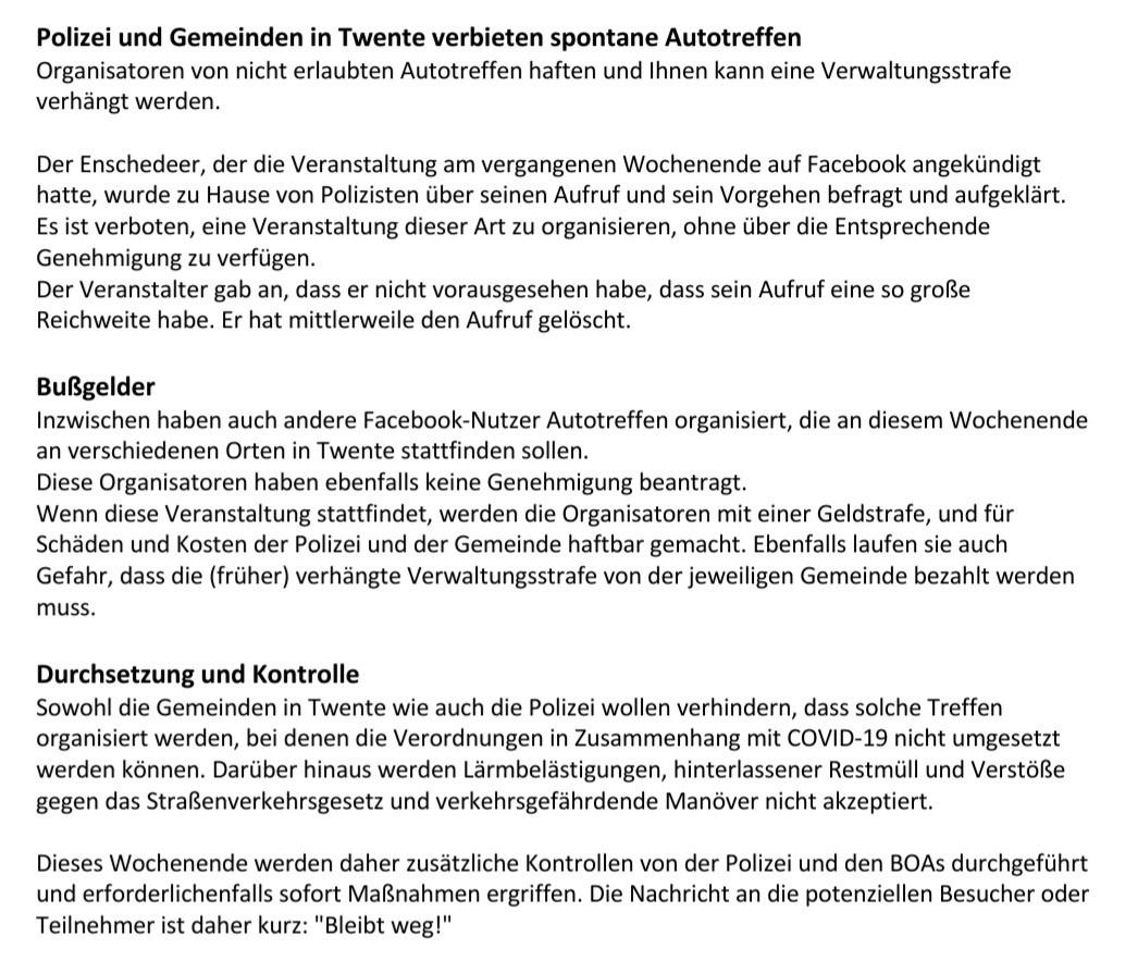 POL-BOR: Pressemeldung der Politie Oost-Nederland: Polizei und Gemeinden verbieten spontane Autotreffen